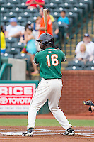 Javier Lopez (16) of the Greensboro Grasshoppers at bat against the Hagerstown Suns at NewBridge Bank Park on May 20, 2014 in Greensboro, North Carolina.  The Grasshoppers defeated the Suns 5-4. (Brian Westerholt/Four Seam Images)