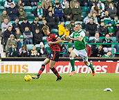 4th November 2017, Easter Road, Edinburgh, Scotland; Scottish Premiership football, Hibernian versus Dundee; Dundee's Mark O'Hara and Hibernian's Anthony Stokes