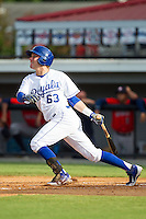 Ryan Dale (63) of the Burlington Royals follows through on his swing against the Greeneville Astros at Burlington Athletic Park on June 29, 2014 in Burlington, North Carolina.  The Royals defeated the Astros 11-0. (Brian Westerholt/Four Seam Images)