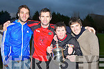 Glenbeigh/Glencar player Fergal Griffin celebrates with his brothers Cathal and Cian and his cousin Micheál Griffin (left) after defeating Laune Rangers in the Mid Kerry Championship final in Beaufort on Sunday.