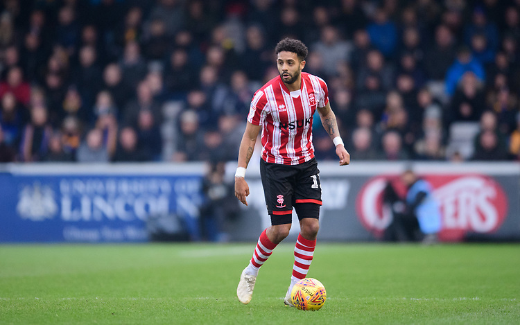 Lincoln City's Bruno Andrade<br /> <br /> Photographer Chris Vaughan/CameraSport<br /> <br /> The EFL Sky Bet League Two - Lincoln City v Mansfield Town - Saturday 24th November 2018 - Sincil Bank - Lincoln<br /> <br /> World Copyright © 2018 CameraSport. All rights reserved. 43 Linden Ave. Countesthorpe. Leicester. England. LE8 5PG - Tel: +44 (0) 116 277 4147 - admin@camerasport.com - www.camerasport.com