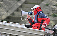Putney, GREAT BRITAIN,  Tuesday Morning,  Cambridge Training Outing, Tideway week, Chief Coach Steve TRAPMORE coaching from the launch. Championship course. Putney/Mortlake, Tuesday   03/04/2012 [Mandatory Credit, Peter Spurrier/Intersport-images].