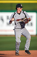 Louisville Cardinals shortstop Tyler Fitzgerald (2) warmup throw to first base during a game against the Ball State Cardinals on February 19, 2017 at Spectrum Field in Clearwater, Florida.  Louisville defeated Ball State 10-4.  (Mike Janes/Four Seam Images)