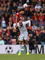 Bournemouth's Nathan Ake (left) battles with Sheffield United's David McGoldrick (right) <br /> <br /> Photographer David Horton/CameraSport<br /> <br /> The Premier League - Bournemouth v Sheffield United - Saturday 10th August 2019 - Vitality Stadium - Bournemouth<br /> <br /> World Copyright © 2019 CameraSport. All rights reserved. 43 Linden Ave. Countesthorpe. Leicester. England. LE8 5PG - Tel: +44 (0) 116 277 4147 - admin@camerasport.com - www.camerasport.com