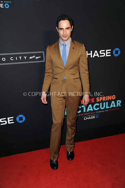 WWW.ACEPIXS.COM<br /> March 26, 2015 New York City<br /> <br /> Zac Posen attending the 2015 New York Spring Spectacular at Radio City Music Hall on March 26, 2015 in New York City.<br /> <br /> Please byline: Kristin Callahan/AcePictures<br /> <br /> ACEPIXS.COM<br /> <br /> Tel: (646) 769 0430<br /> e-mail: info@acepixs.com<br /> web: http://www.acepixs.com