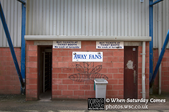 Queen of the South 2 Stranraer 0, 11/08/2015. Scottish Challenge Cup first round, Palmerston Park. A turnstile entrance and sign for away supporters at Palmerston Park, Dumfries, before Queen of the South hosted Stranraer in a Scottish Challenge Cup first round match. The game was the opening match of the season in a competition open to sides below the Scottish Premiership. Queen of the South won the match 2-0, watched by a crowd of 1229 spectators. Photo by Colin McPherson.