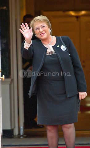 Veronica Michelle Bachelet, President of the Republic of Chile arrives for the working dinner for the heads of delegations at the Nuclear Security Summit on the South Lawn of the White House in Washington, DC on Thursday, March 31, 2016.<br /> Credit: Ron Sachs / Pool via CNP/MediaPunch