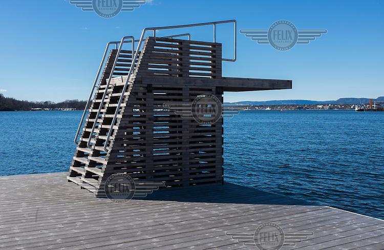 Sørenga ocean bath with diving board. Oslofjorden, central Oslo