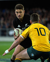 Beauden Barrett runs at Bernard Foley during the Rugby Championship and Bledisloe Cup rugby match between the New Zealand All Blacks and Australia Wallabies at Forsyth Barr Stadium in Dunedin, New Zealand on Saturday, 26 August 2017. Photo: Dave Lintott / lintottphoto.co.nz