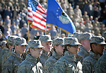 November 4, 2017:  The Air Force Academy Corps of Cadets at attention prior the NCAA Football game between the Army West Point Black Knights and the Air Force Academy Falcons at Falcon Stadium, United States Air Force Academy, Colorado Springs, Colorado.  Army West Point defeats Air Force 21-0.
