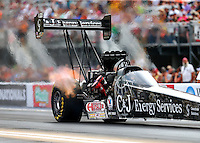 Jun 19, 2015; Bristol, TN, USA; NHRA top fuel driver Dave Connolly during qualifying for the Thunder Valley Nationals at Bristol Dragway. Mandatory Credit: Mark J. Rebilas-