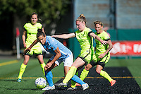 Seattle, WA - Sunday, April 17, 2016: Sky Blue FC midfielder Raquel Rodriguez (11) battles for the ball against Seattle Reign FC midfielder Kim Little (8). Sky Blue FC defeated the Seattle Reign FC 2-1during a National Women's Soccer League (NWSL) match at Memorial Stadium.