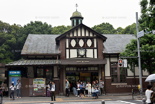 June 7, 2017, Tokyo, Japan - Harajuku Station sits right next to the Meiji Shinto Shrine in Tokyos upscale Harajuku district on Tuesday, June 6, 2016. The Western-style station, built in 1924 following the establishment of the shrine, is to be rebuilt in time for the 2020 Tokyo Olympics. The number of foreign tourists using the station has increased in recent years and more visitors are expected to use it in 2020, when some Olympic and Paralympic sports will be held at the nearby Yoyogi National Gymnasium.  (Photo by Natsuki Sakai/AFLO) AYF -mis-