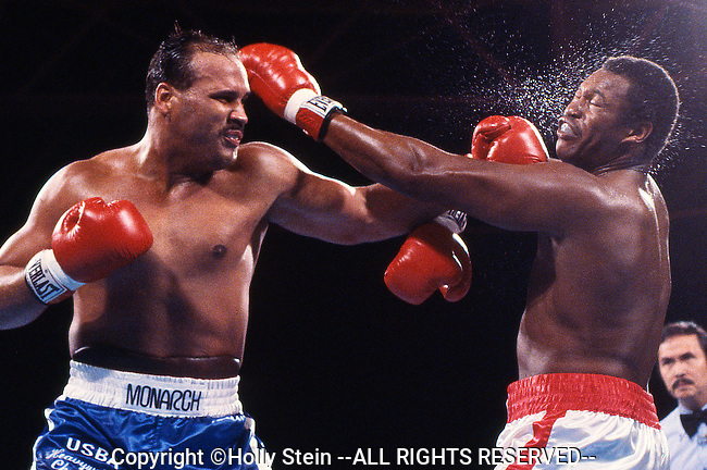 Larry Holmes v. David Bey.  Holmes W TKO10.  IBF heavyweight title.