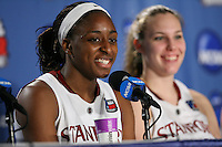 SAN ANTONIO, TX - APRIL 4:  Nnemkadi Ogwumike of the Stanford Cardinal during the post-game press conference after Stanford's 73-66 win over Oklahoma in the Final Four semi-finals at the Alamo Dome on April 4, 2010 in San Antonio, Texas.