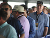 Crowds file into Belmont Park from its connecting LIRR train station during the 150th running of the Belmont Stakes on Saturday, June 9, 2018