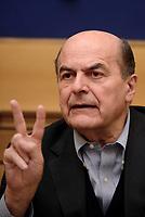 Roma, 29 Marzo 2017<br /> Pier Luigi Bersani durante la conferenza stampa promossa dai Moderati e Riformisti di centrosinistra sui temi del lavoro e dell'occupazione giovanile.