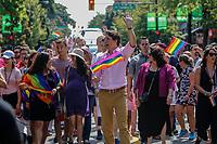 """VANCOUVER, CANADA, 05.08.2018 - PRIDE-VANCOUVER - Primeiro Ministro do Canada, Justin Trudeau durante Parada LBGT """" Pride Parade """" na cidade de Vancouver no Canada neste domingo, 05.(Foto: Clelio Tomaz/Brazil Photo Press)"""