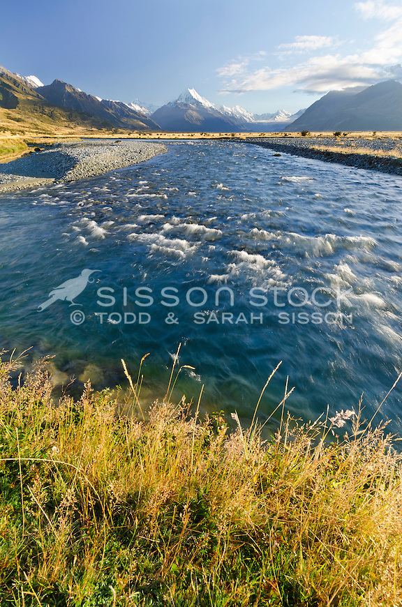 Tasman River in the foreground looking up towards Mt Cook and surrounding mountains.