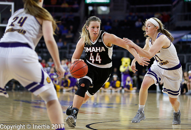 SIOUX FALLS, SD: MARCH 6: Michaela Dapprich #44 of Omaha drives between Western Illinois defenders Taylor Higginbotham #24 and Michelle Farrow #22 during the Summit League Basketball Championship on March 6, 2017 at the Denny Sanford Premier Center in Sioux Falls, SD. (Photo by Dick Carlson/Inertia)