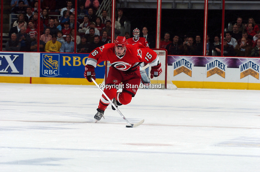 The Carolina Hurricanes' Andrew Ladd brings the puck up ice during their game Thursday, Jan. 19, 2006 against the New York Islanders in Raleigh, NC. Carolina won 4-3.