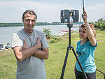 Archaeologists use a laser scanner to plot the landscape to monitor land slippage at the site.<br /> <br /> Vinča culture site, Vinča-Belo Brdo, near Belgrad, Serbia.<br /> <br /> Occupied since 7000 BC the site sits on the right bank of the Reka Dunav on a loess slope.