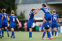Seattle, WA - Saturday July 02, 2016: Nahomi Kawasumi celebrates scoring during a regular season National Women's Soccer League (NWSL) match between the Seattle Reign FC and the Boston Breakers at Memorial Stadium.