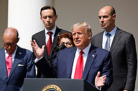 United States President Donald J. Trump delivers remarks before signing H.R. 7010 - PPP Flexibility Act of 2020 in the Rose Garden of the White House in Washington, DC on June 5, 2020.  Pictured behind the president, from left to right: Director of the National Economic Council Larry Kudlow; Tyler Goodspeed, member of Council of Economic Advisers; Jovita Carranza, administrator, United States Small Business Administration (SBA); and US Secretary of Labor Eugene Scalia.<br /> Credit: Yuri Gripas / Pool via CNP/AdMedia