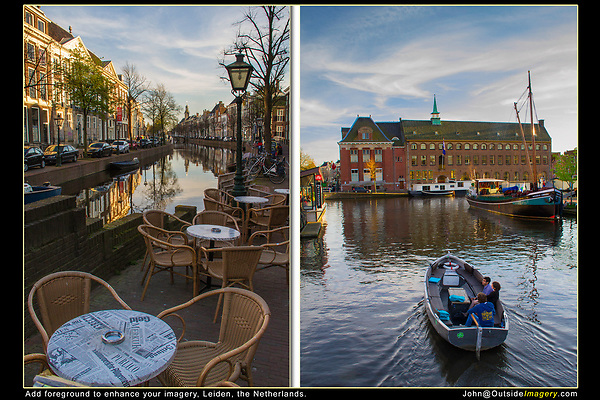 Netherlands, Leiden.  <br /> Add some foreground to improve your imagery.<br /> Even small areas of white, like these tabletops, add brightness to a shady scene (left).<br /> The top half of the right photo can stand by itself as a Dutch scenic for a calendar, but lots of people might shoot it. Here, I included a 'stage' for boats to pass-by. After 5 to 10 minutes I have quite a variety of truly unique images.