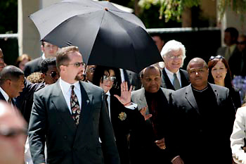 Attorney Thomas Meseraue Pop singer Michael Jackson leaving court after not guilty verdict  on child molestation charges 13 June 2005. Photo Gerard Burkhart