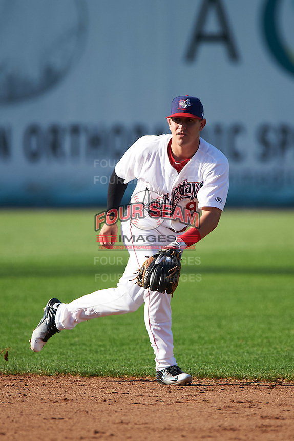 Auburn Doubledays shortstop Paul Panaccione (9) during a game against the Mahoning Valley Scrappers on July 17, 2016 at Falcon Park in Auburn, New York.  Mahoning Valley defeated Auburn 3-2.  (Mike Janes/Four Seam Images)