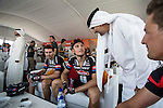 Team Giant-Alpecin riders including Tom Dumoulin (NED) and Marcel Kittel (GER) relax before the start of Stage 3, The Al Ain Stage, of the 2015 Abu Dhabi Tour starting from the Al Qattara Souq in Al Ain and running 129 km to the mountain top finish at Jebel Hafeet at 1025 metres, Abu Dhabi. 10th October 2015.<br /> Picture: ANSA/Angelo Carconi | Newsfile
