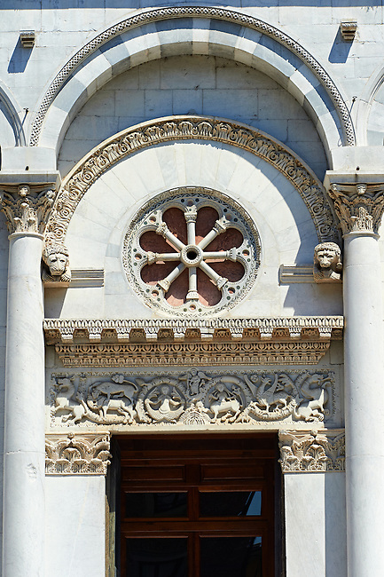 Detail of the Romanesque main entrance of San Michele in Foro is a Roman Catholic basilica church in Lucca, Tunscany, Italy