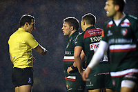 Tom Youngs of Leicester Tigers is spoken to referee Mathieu Raynal. European Rugby Champions Cup match, between Leicester Tigers and Munster Rugby on December 17, 2017 at Welford Road in Leicester, England. Photo by: Patrick Khachfe / JMP