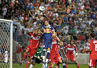 New York forward Juan Pablo Angel (9) goes up for a header while being defended by Chicago defender C.J. Brown (2).  The Chicago Fire tied the New York Red Bulls 0-0 at Toyota Park in Bridgeview, IL on August 8, 2010