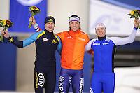 SPEEDSKATING: CALGARY: Olympic Oval, 26-02-2017, ISU World Sprint Championships, Podium 500m Men, Roman Krech (KAZ), Ronald Mulder (NED), Mika Poutala (FIN), ©photo Martin de Jong