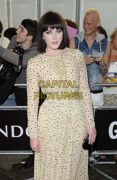 Alexandra Roach<br /> The Glamour Women Of The Year Awards 2013, Berkeley Square Gardens, London, England.<br /> June 4th, 2013<br /> half length white beige sheer polka dot brown clutch bag belt  dress  <br /> CAP/CAN<br /> &copy;Can Nguyen/Capital Pictures