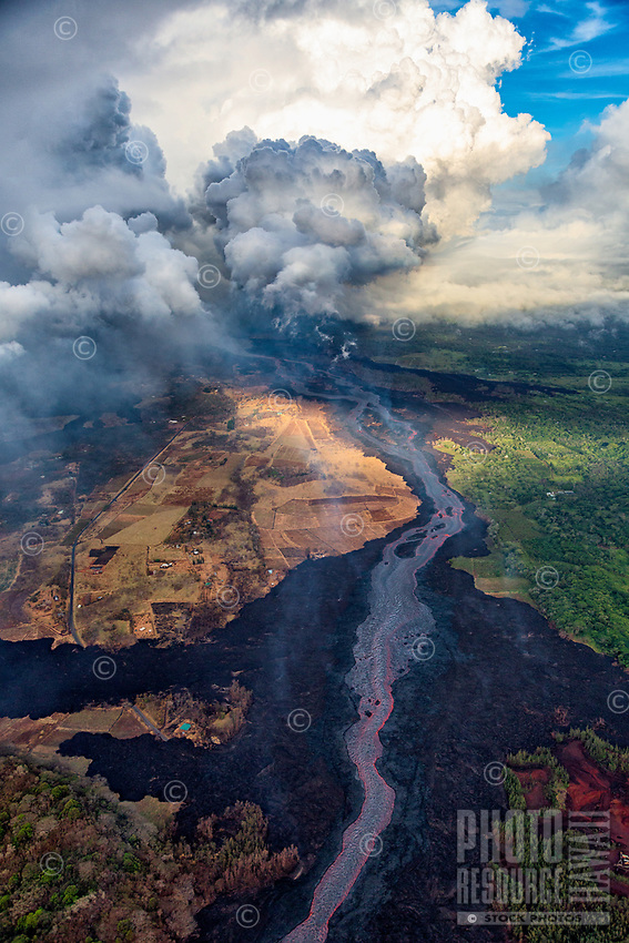 June 2018: At sunrise, an aerial view of a massive lava river flowing through Leilani Estates, Puna district of Hawai'i Island.