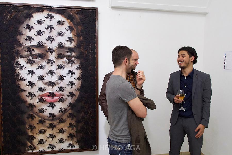 "Vienna, Austria. Galerie Suppan Contemporary. Vernissage of Zico Albaiquni (r., Indonesia), ""beyond the veil"""