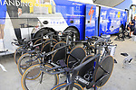 Quick-Step Floors Specialized bikes lined up at the team bus before Stage 1 of the La Vuelta 2018, an individual time trial of 8km running around Malaga city centre, Spain. 25th August 2018.<br /> Picture: Eoin Clarke | Cyclefile<br /> <br /> <br /> All photos usage must carry mandatory copyright credit (© Cyclefile | Eoin Clarke)