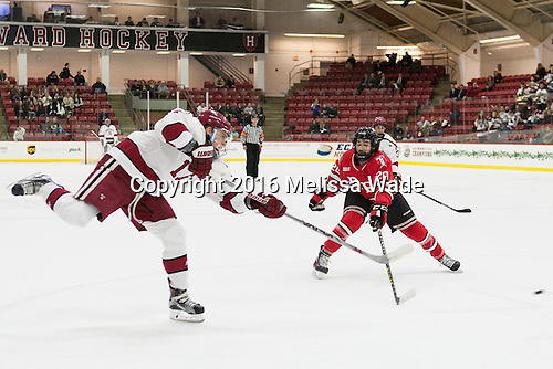 Sean Malone (Harvard - 17), Jimmy DeVito (RPI - 20) - The Harvard University Crimson defeated the visiting Rensselaer Polytechnic Institute Engineers 5-2 in game 1 of their ECAC quarterfinal series on Friday, March 11, 2016, at Bright-Landry Hockey Center in Boston, Massachusetts.