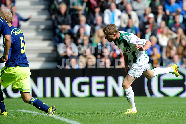GRONINGEN - Voetbal, FC Groningen - Ajax,  Eredivisie, Euroborg, seizoen 2014-2015, 31-08-2014,   FC Groningen speler Michael de Leeuw heeft de 2-0 ingekopt
