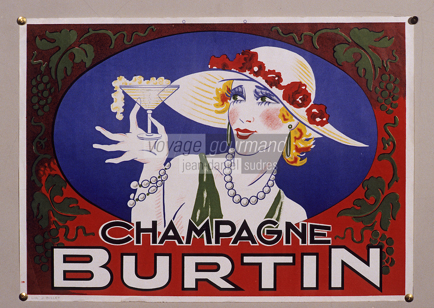Europe/France/Champagne-Ardenne/51/Marne/Epernay: Musée municipal - Affichette champagne Burtin - 1930