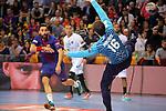 VELUX EHF 2017/18 EHF Men's Champions League Last 16.<br /> FC Barcelona Lassa vs Montpellier HB: 30-28.<br /> Valero Rivera vs Nikola Portner.