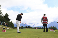 Dean Burmester (RSA) tees off the 7th tee during Sunday's Final Round of the 2017 Omega European Masters held at Golf Club Crans-Sur-Sierre, Crans Montana, Switzerland. 10th September 2017.<br /> Picture: Eoin Clarke | Golffile<br /> <br /> <br /> All photos usage must carry mandatory copyright credit (&copy; Golffile | Eoin Clarke)