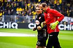 11.05.2019, Signal Iduna Park, Dortmund, GER, 1.FBL, Borussia Dortmund vs Fortuna Düsseldorf, DFL REGULATIONS PROHIBIT ANY USE OF PHOTOGRAPHS AS IMAGE SEQUENCES AND/OR QUASI-VIDEO<br /> <br /> im Bild | picture shows:<br /> Claus Reitmaier (Torwarttrainer Fortuna) mit Jaroslav Drobny (Fortuna #16), <br /> <br /> Foto © nordphoto / Rauch