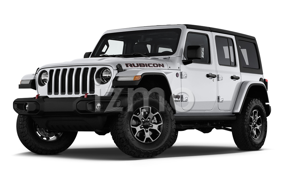 Stock pictures of low aggressive front three quarter view of a 2018 Jeep Wrangler-Unlimited Rubicon 5 Door SUV