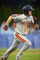Aberdeen Ironbirds third baseman Collin Woody (48) runs to first base during a game against the Batavia Muckdogs on July 14, 2016 at Dwyer Stadium in Batavia, New York.  Aberdeen defeated Batavia 8-2. (Mike Janes/Four Seam Images)