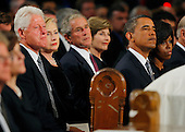 Boston, MA - August 29, 2009 -- From left to right: Former United States President Bill Clinton; U.S. Secretary of State Hillary Rodham Clinton; former U.S. President George W. Bush; former first lady Laura Bush, U.S. President Barack Obama; and first lady Michelle Obama during funeral services for U.S. Senator Edward Kennedy at the Basilica of Our Lady of  Perpetual Help in Boston, Massachusetts August 29, 2009.  Senator Kennedy died late Tuesday after a battle with cancer.   .Credit: Brian Snyder- Pool via CNP