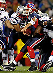 18 November 2007: Buffalo Bills quarterback  J.P. Losman (7) is sacked by the New England Patriots at Ralph Wilson Stadium in Orchard Park, NY. The Patriots defeated the Bills 56-10 in their second meeting of the season...Mandatory Photo Credit: Ed Wolfstein Photo